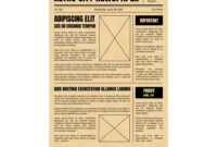 Vintage Newspaper Template Sheet Old Style Design with regard to Old Blank Newspaper Template