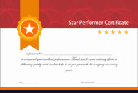 Vintage Red And Gold Star Performer Certificate intended for Star Performer Certificate Templates