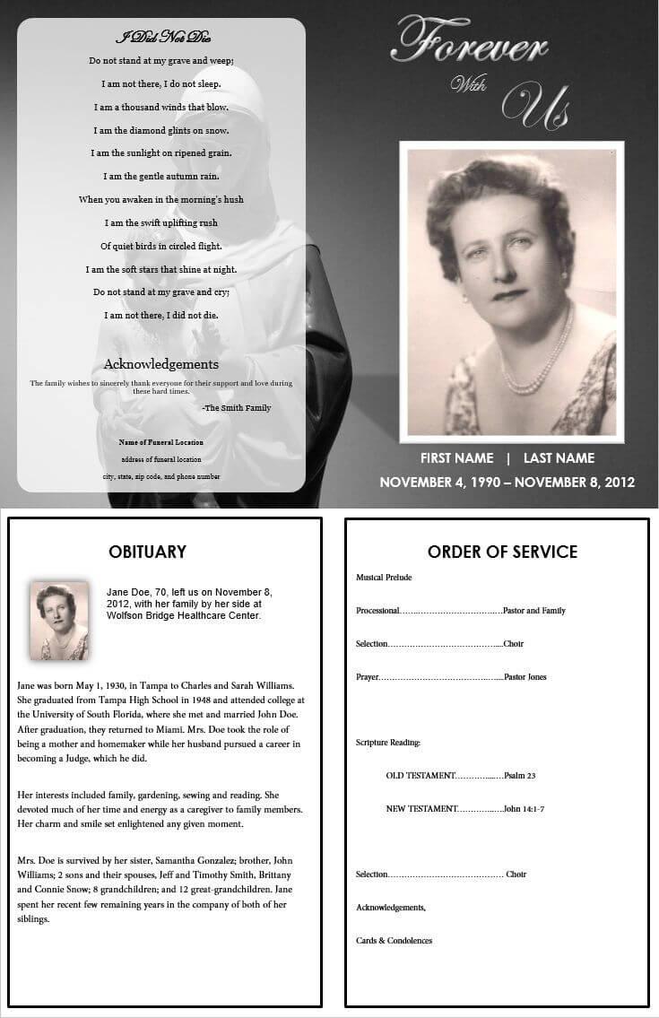 Virgin Mary Memorial Program | Funeral Program Template Free Pertaining To Memorial Brochure Template