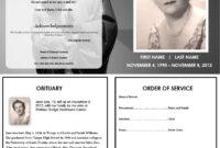 Virgin Mary Memorial Program | Funeral Program Template Free with Memorial Card Template Word
