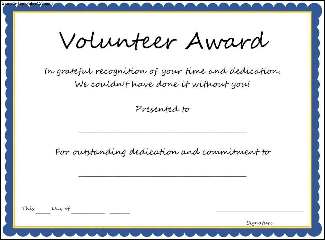 Volunteer Award Certificate Template - Sample Templates Regarding Safety Recognition Certificate Template