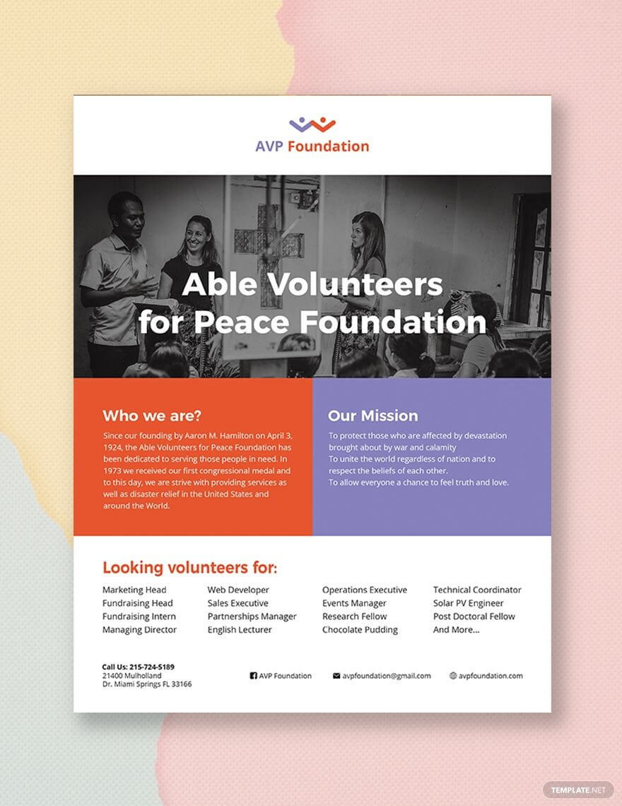 Volunteer Flyer | Flyer Template, Booklet Template, Party Flyer For Volunteer Brochure Template