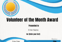 Volunteer Of The Month Certificate Template | Certificate with Volunteer Certificate Template