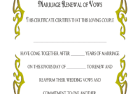 Vow Renewal Certificate Templates – Fill Online, Printable in Blank Marriage Certificate Template