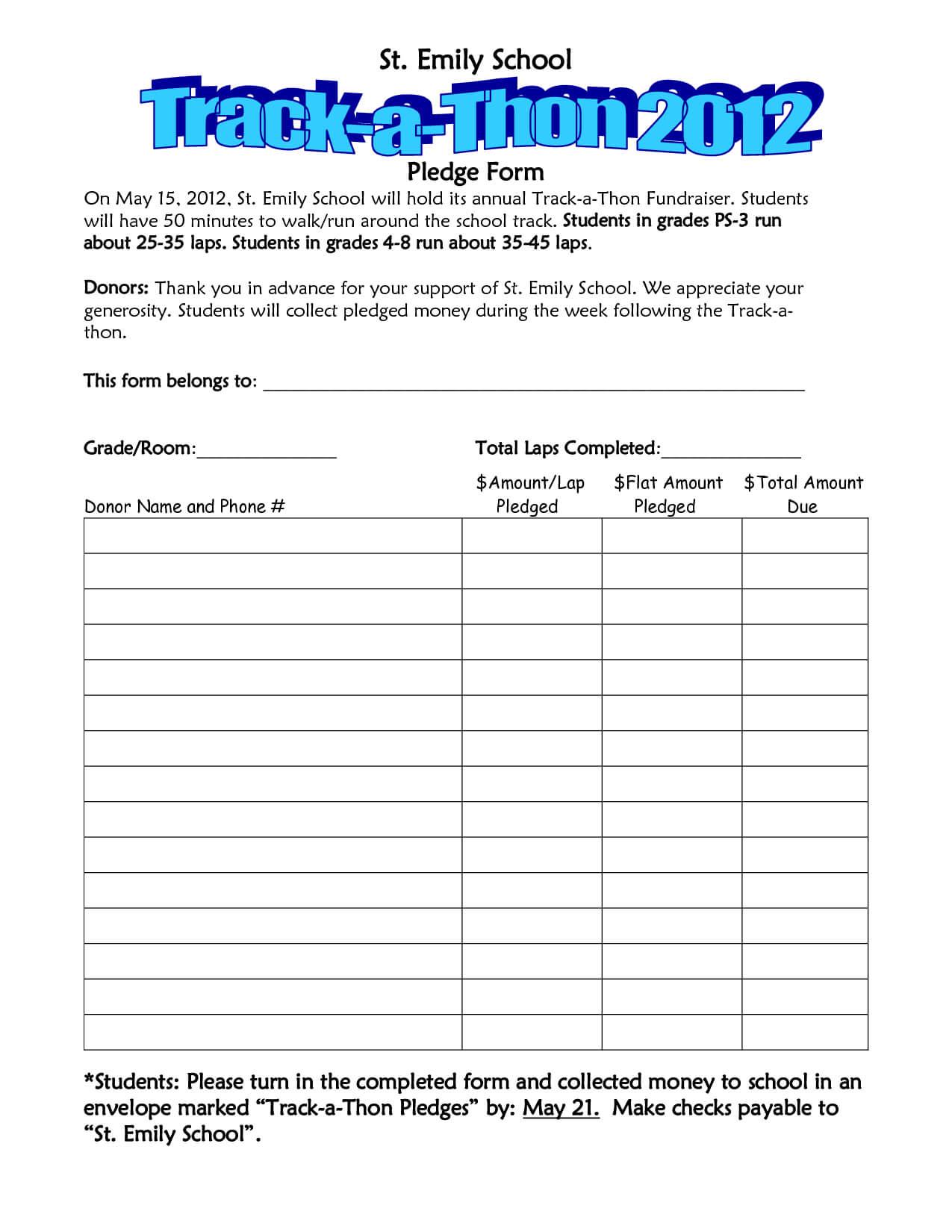 Walkathon Pledge Form Template – Invitation Templates Throughout Sponsor Card Template