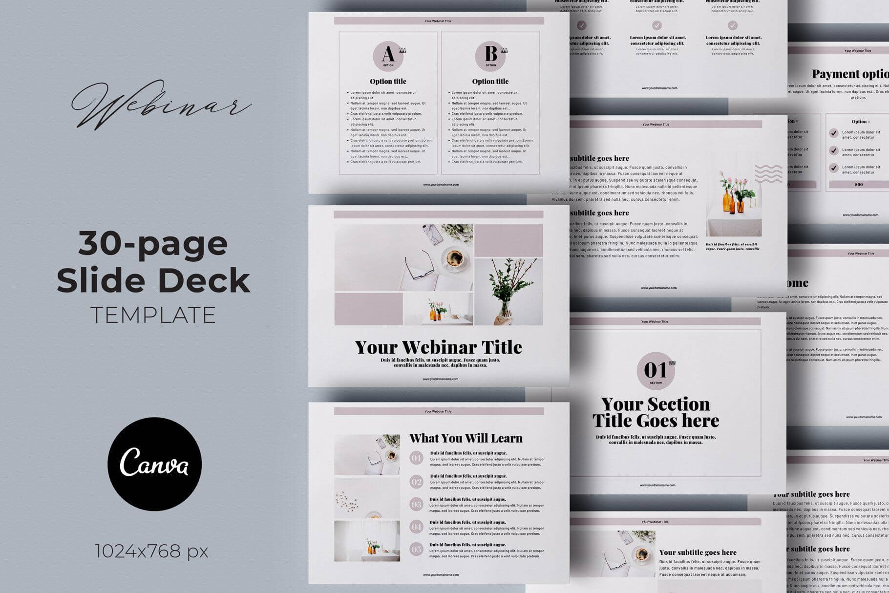 Webinar Slide Deck Canva Template3.14&co On With Webinar Powerpoint Templates