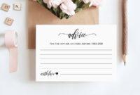 Wedding Advice Card Printable, Editable Template, Well regarding Marriage Advice Cards Templates