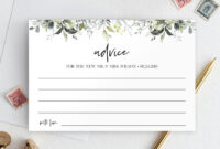 Wedding Advice Card Template, Well Wishes Printable pertaining to Marriage Advice Cards Templates