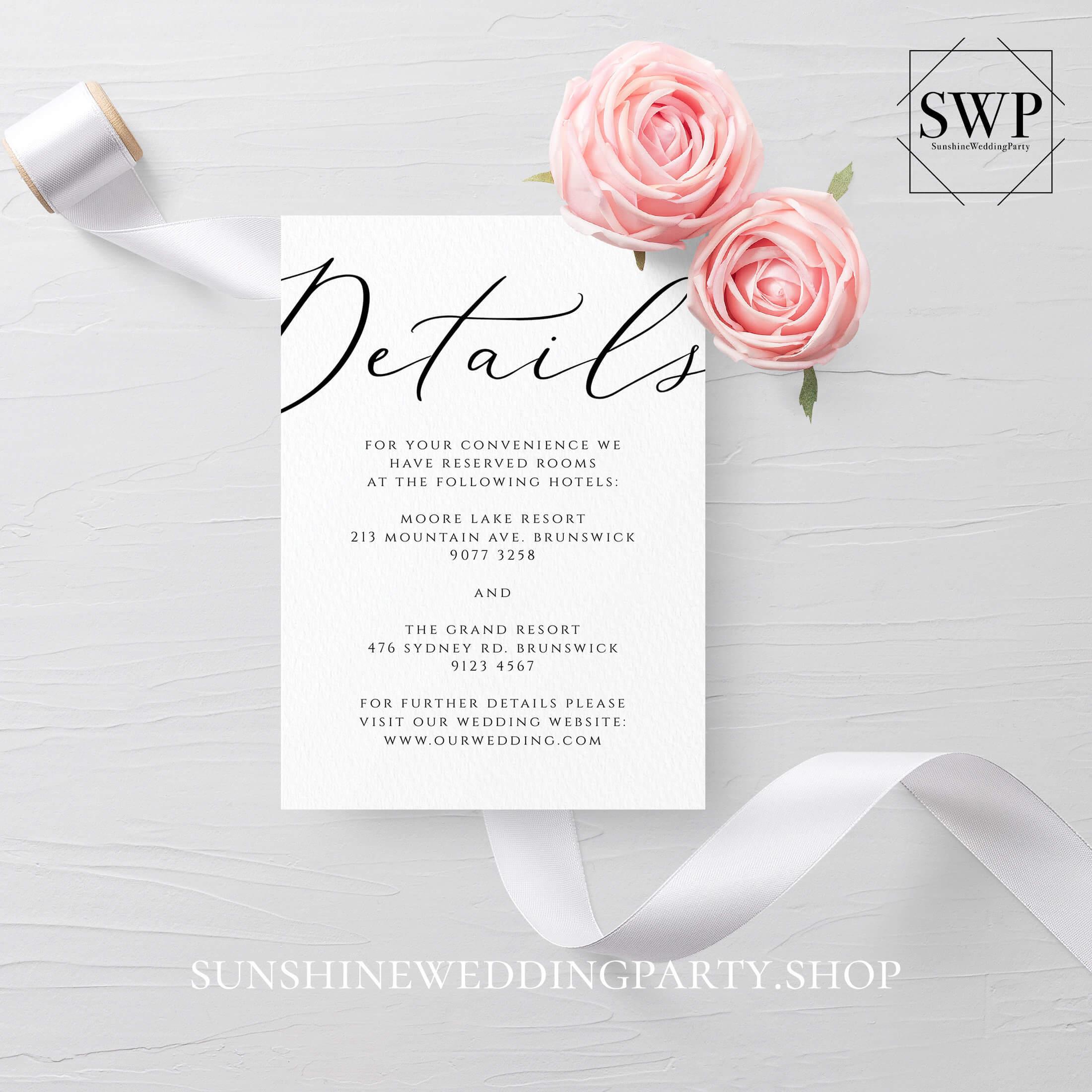 Wedding Details Card Template Fully Editable Printable Regarding Wedding Hotel Information Card Template