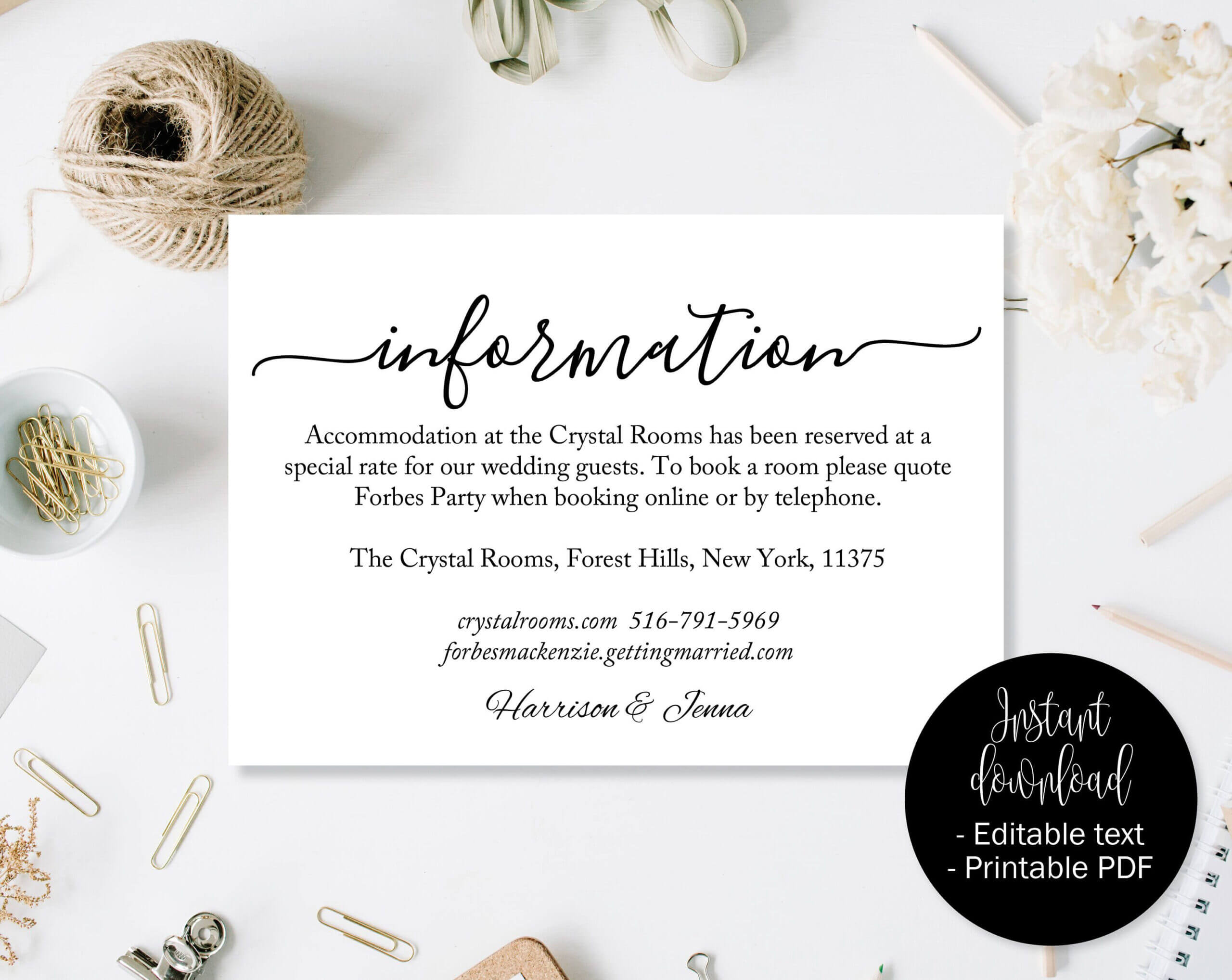 Wedding Guest Details Template, Wedding Guest Accommodation For Wedding Hotel Information Card Template