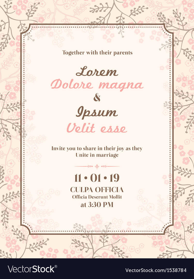 Wedding Invitation Card Template With Invitation Cards Templates For Marriage