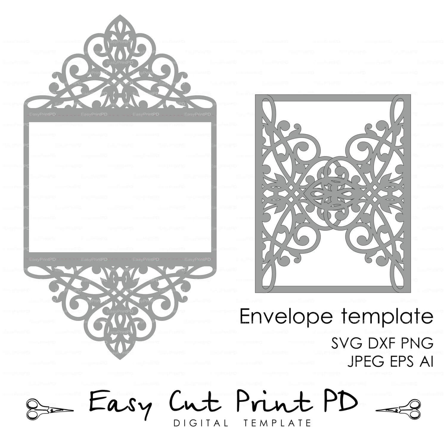 Wedding Invitation Pattern Card Template Lace Folds (Studio Intended For Silhouette Cameo Card Templates