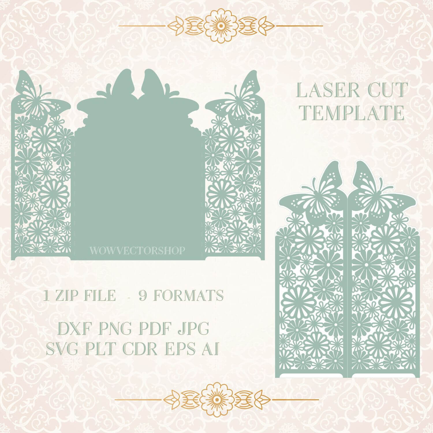 Wedding Invitation Stationery Pattern Card Templates Svg With Silhouette Cameo Card Templates