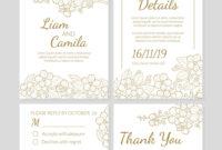 Wedding Invitation Template Set Thank You Card in Church Wedding Invitation Card Template
