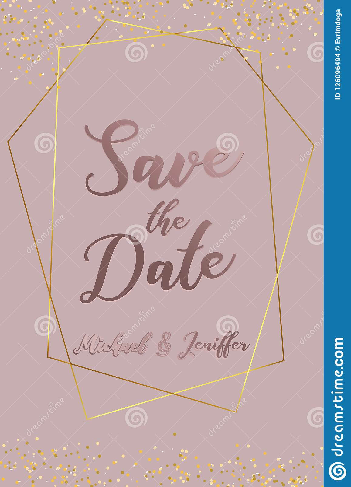Wedding Invitation, Thank You Card, Save The Date Card With Save The Date Banner Template