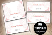 Wedding Pink Placecard Template Foldover, Diy Pink Place pertaining to Fold Over Place Card Template
