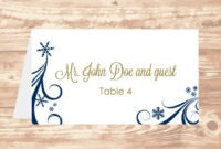 Wedding Place Card Diy Template Navy Swirling Snowflakes in Microsoft Word Place Card Template