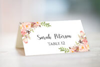 Wedding Place Card Template Fully Editable Diy Peony Flowers regarding Table Name Card Template