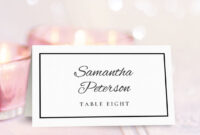Wedding Place Card Template | Printable Place Cards, Place inside Table Name Card Template