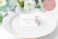 Wedding Place Cards Printable, Editable Name Card Template for Fold Over Place Card Template