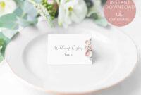 Wedding Place Cards Printable, Editable Name Card Template for Table Name Card Template