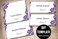 Wedding Placecard Template Foldover, Diy Purple Place Cards within Fold Over Place Card Template