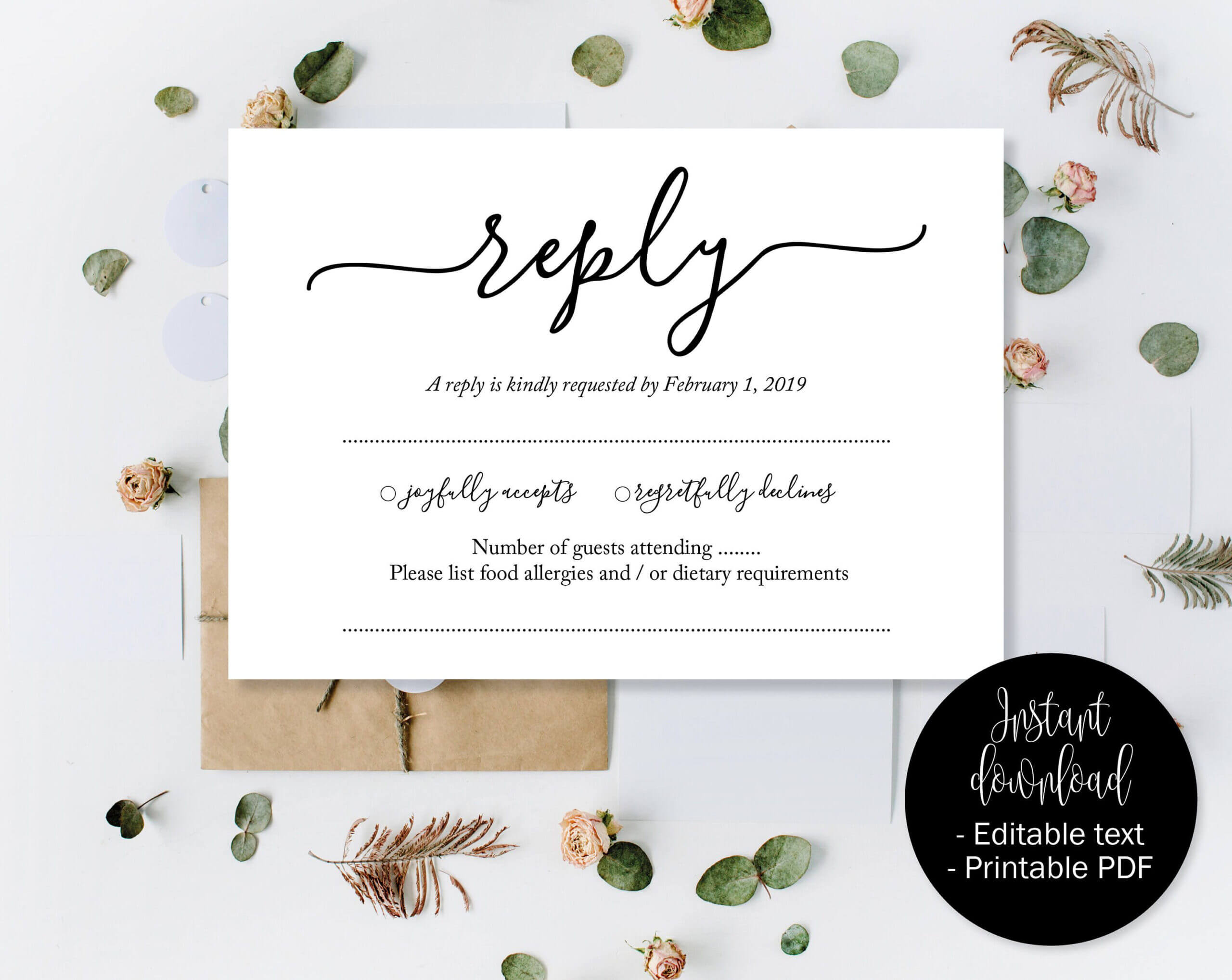 Wedding Rsvp Cards, Wedding Reply Attendance Acceptance For Acceptance Card Template