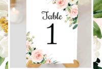 Wedding Table Number Cards Blush Florals Edit Online inside Table Number Cards Template