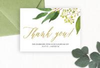 Wedding Thank You Card Editable Template – Free Print within Template For Wedding Thank You Cards