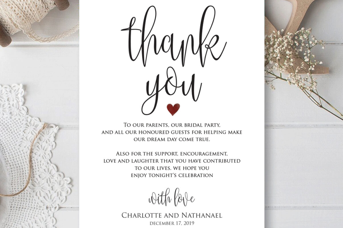 Wedding Thank You Note, Printable Thank You Card Template Pertaining To Thank You Note Cards Template