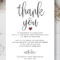 Wedding Thank You Note, Printable Thank You Card Template regarding Template For Wedding Thank You Cards