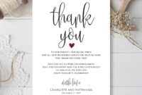 Wedding Thank You Note, Printable Thank You Card Template within Thank You Note Card Template