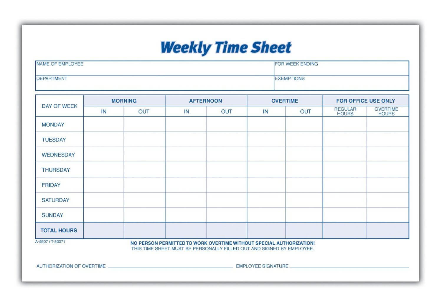 Weekly Employee Time Sheet | Time Sheet Printable, Timesheet In Weekly Time Card Template Free