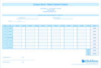 Weekly Timesheet Template | Free Excel Timesheets | Clicktime within Weekly Time Card Template Free