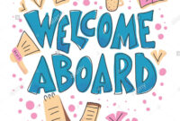 Welcome Aboard Banner Template. Hand Drawn Lettering With inside Welcome Banner Template