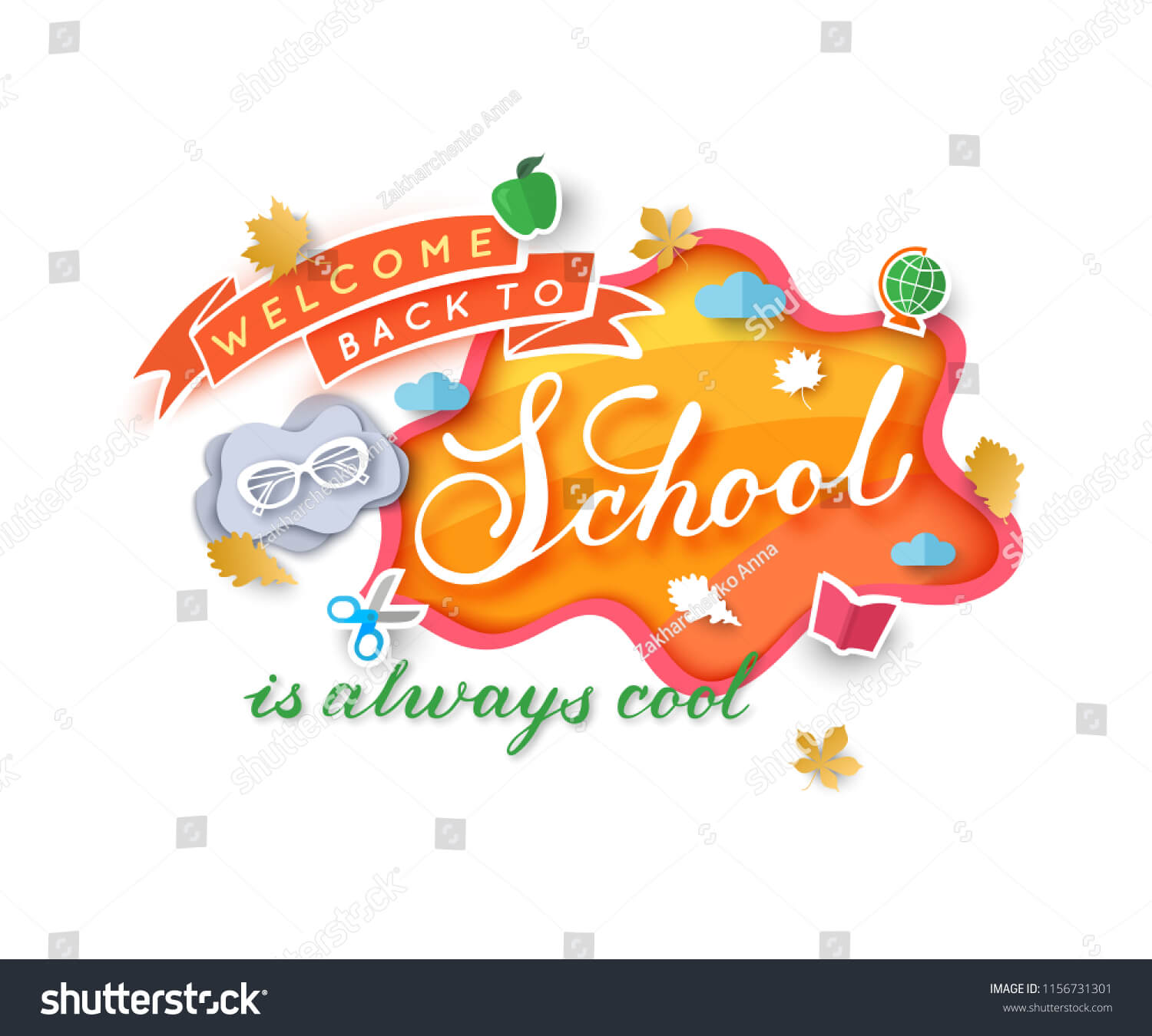 Welcome Back School Banner Template Paper Stock Vector Throughout Welcome Banner Template