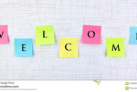 Welcome Banner With Sticky Notes Stock Image – Image Of In Welcome Banner Template