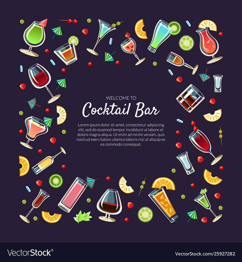 Welcome To Cocktail Bar Banner Template With Place For Welcome Banner Template