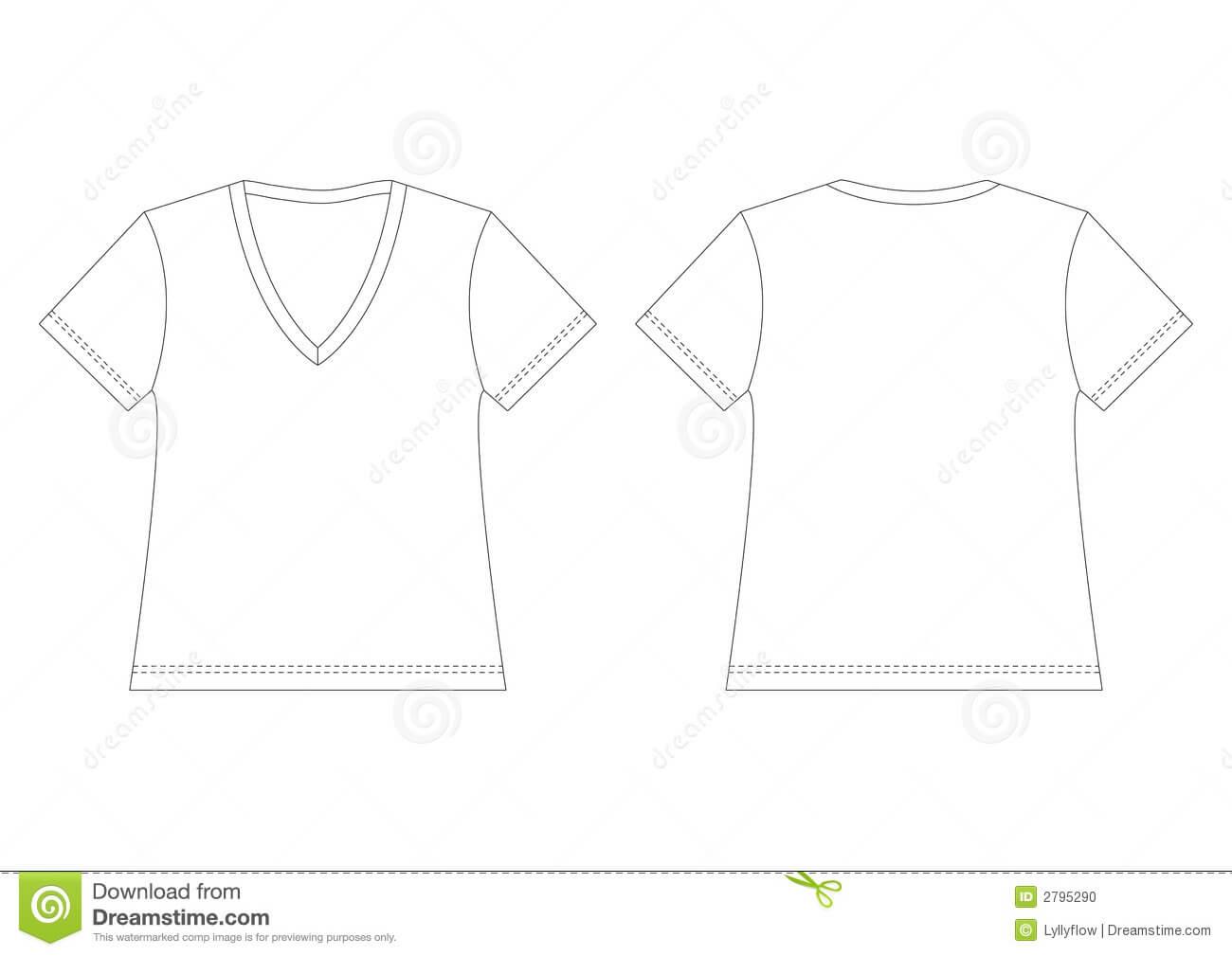 White V Neck T Shirt Stock Vector. Illustration Of Back In Blank V Neck T Shirt Template