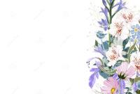 Wild Flowers Bouquet Elegant Card Template. Small Floral inside Small Greeting Card Template