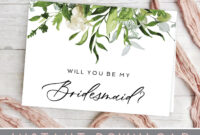 Will You Be My Bridesmaid Card, Printable Bridesmaid Card, Leaves,  Greenery, Will You Be My Bridesmaid Template, Pdf, Bridesmaid Invitation with Will You Be My Bridesmaid Card Template