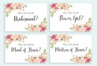 Will You Be My Bridesmaid Card Printable Set Floral Cards Multipack Flower  Girl Invitation Pack Digital Download Pdf Jpeg Template Print inside Will You Be My Bridesmaid Card Template