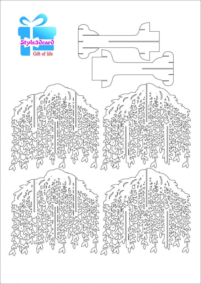 Willow Tree Pop Up Card/kirigami Pattern 1 | Pop Up Card Within Pop Up Tree Card Template