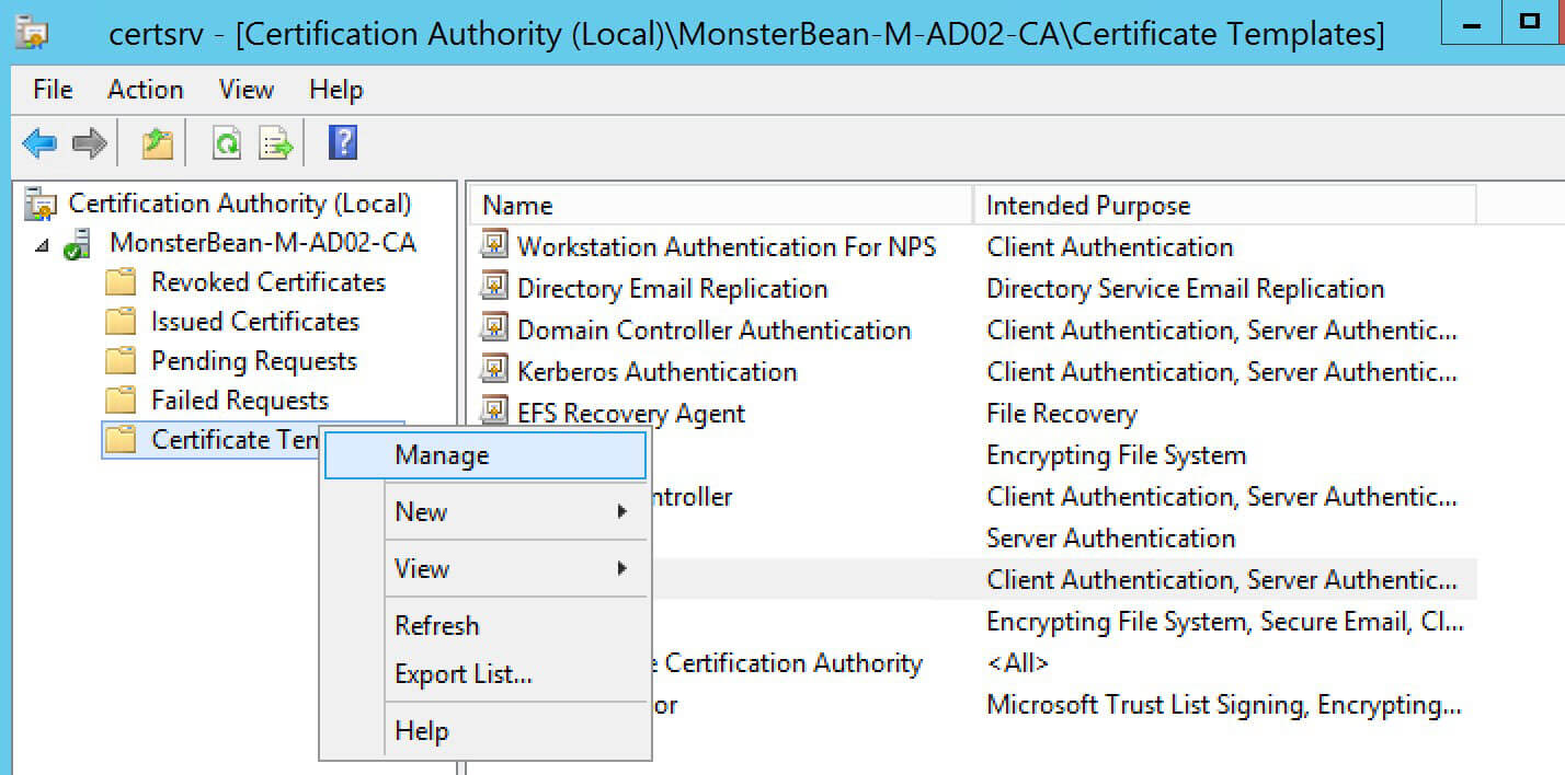 Windows 2012 R2 Nps With Eap Tls Authentication For Os X Regarding Workstation Authentication Certificate Template