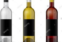 Wine Realistic 3D Bottle With Blank Black Label Template Set for Blank Wine Label Template