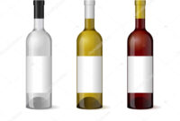 Wine Realistic 3D Bottle With Blank White Label Template Set within Blank Wine Label Template