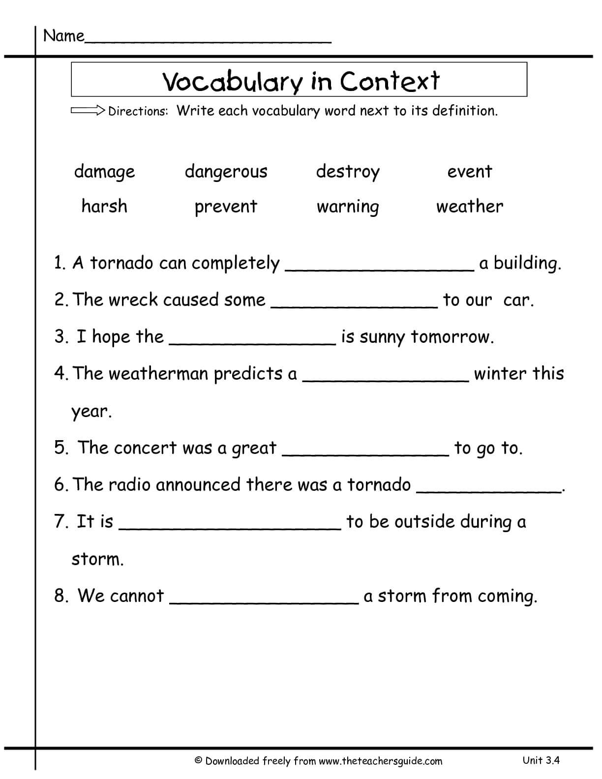Wonders Second Grade Unit Three Week Four Printouts For Vocabulary Words Worksheet Template