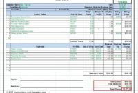 Workshop Job Card, Labor & Material Cost Estimator In Job Cost Report Template Excel