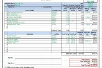 Workshop Job Card, Labor & Material Cost Estimator inside Sample Job Cards Templates
