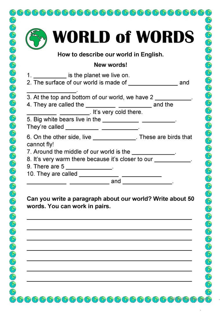 World Of Words – Vocabulary Building – English Esl Worksheets Throughout Vocabulary Words Worksheet Template